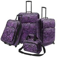 U.S. Traveler Fashion 4 piece Spinner Luggage Set, Purple Zebra Print at Kmart.com