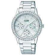 Citizen Ladies' Quartz Stainless Steel Day-Date with Mother of Pearl Dial and Swarovski Crystal Bezel at Sears.com