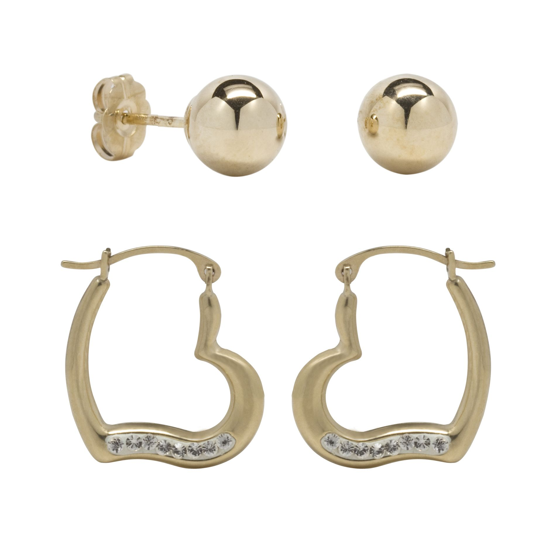 10k Yellow Gold Earring 2 Pair Set