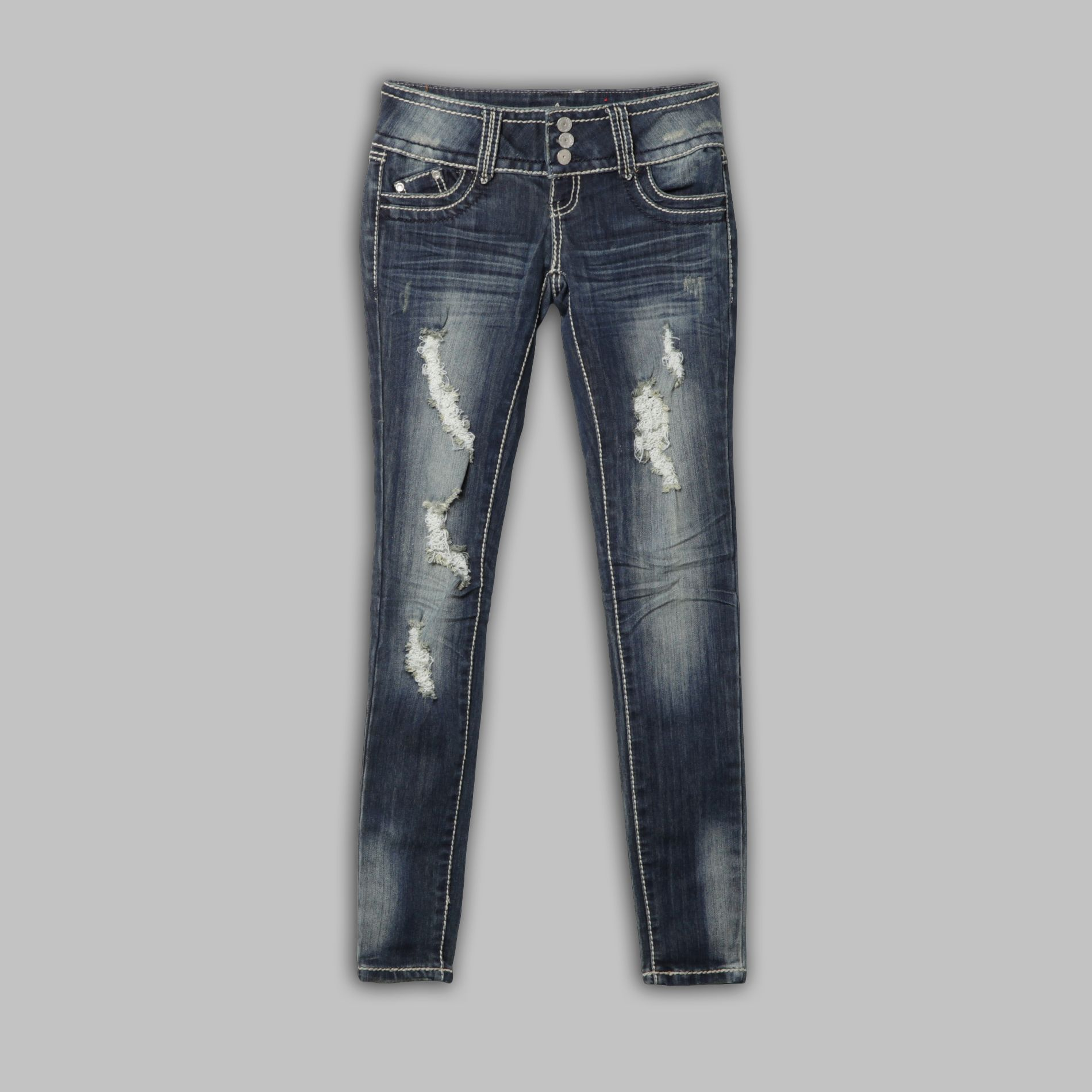 Almost Famous Junior's Jeans Skinny Destruction Back Flap Blue at Sears.com