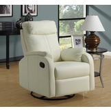 Monarch Specialties Ivory Bonded Leather Swivel Rocker Recliner at mygofer.com