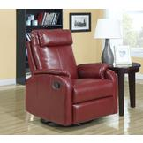 Monarch Specialties Red Bonded Leather Swivel Rocker Recliner at mygofer.com