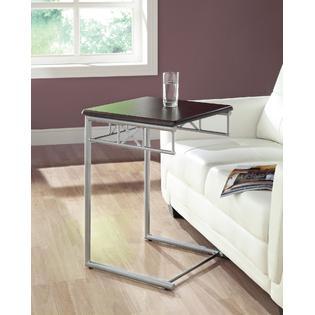 Monarch Specialties Cappuccino / Silver Metal Snack Table