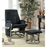 Monarch Specialties Black Chenille / Metal Swivel Rocker Recliner W/ Ottoman at mygofer.com