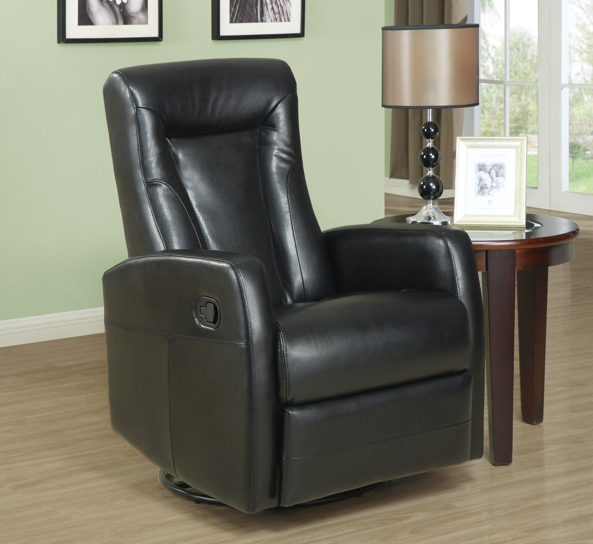 Monarch Specialties Recliner Swivel Rocker Black Bonded Leather Fabric Home Furniture