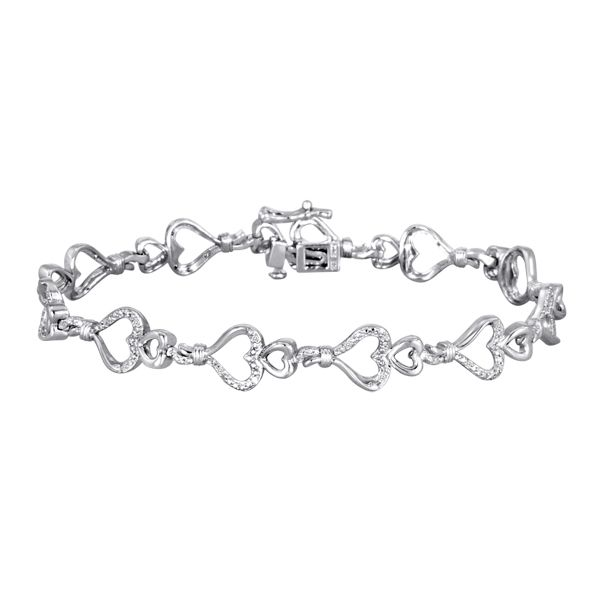 Knots of Love  Sterling Silver 1/10 cttw Diamond Double Heart Bracelet