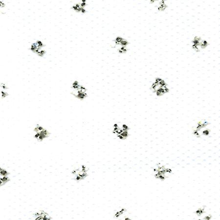 """Silver Sparkle Tulle 6"""" Wide 25 Yard Spool-White PartNumber: 021V004635109000P KsnValue: 4635109 MfgPartNumber: 11300-11301"""