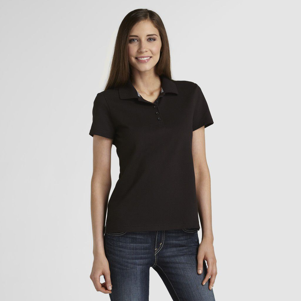 Basic Editions Women's Pique Polo Shirt- Solid at Kmart.com