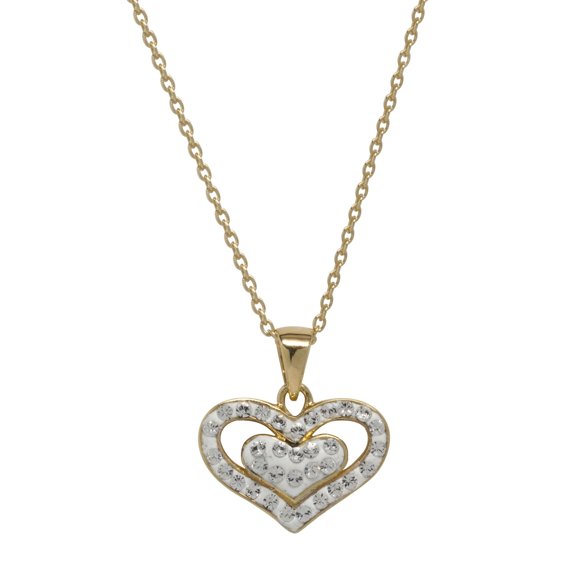 White Crystal Heart Pendant Gold over Brass