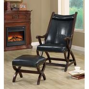 Monarch Specialties Dark Brown Leather-Look Hunter Chair With Ottoman at Kmart.com