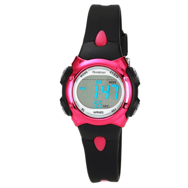 Armitron Ladies Digital Black Strap with Pink Accent Sport Watch