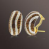 Chocolate Elegance Gold Over Bronze Brown and White Crystal Wavy Stripe Earrings at mygofer.com