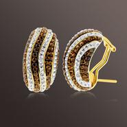 Chocolate Elegance Gold over Bronze Crystal Wavy Stripe Earrings at Sears.com
