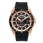 Bulova Men's Black and Rose-Gold ion Plated finish Band with Black Dial Watch at Sears.com