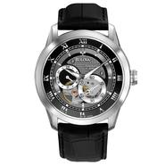 Bulova Men's Self-Winding Black Leather Band with Black Dial Watch at Sears.com