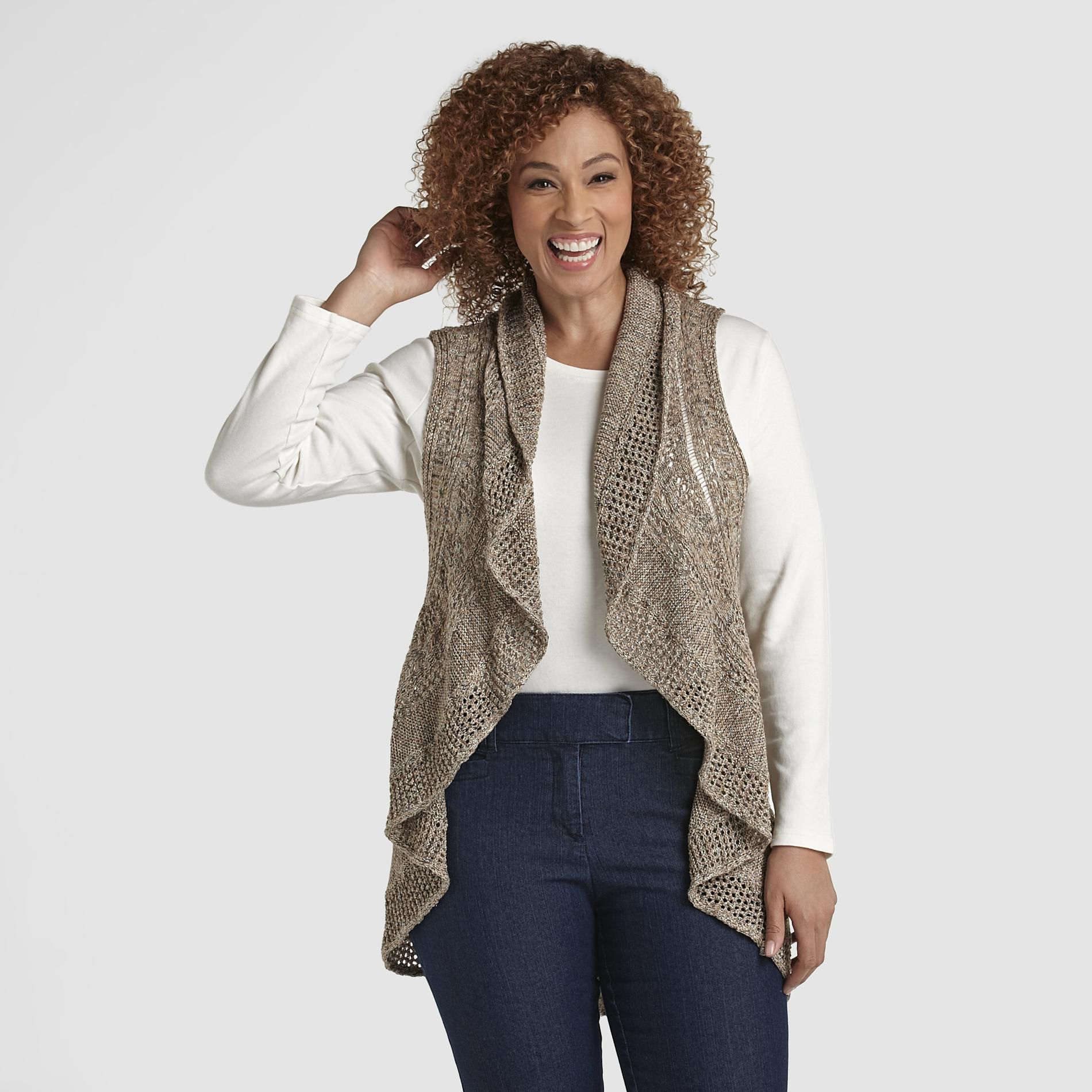 Beverly Drive Women's Plus Crocheted Vest at Sears.com