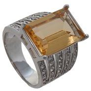 Grand Luxe Simulated Citrine Rhodium Plated Ring at Sears.com