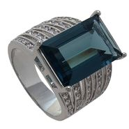 Grand Luxe Simulated London Blue Topaz Rhodium Plated Ring at Sears.com