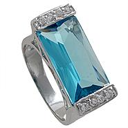 Grand Luxe Simulated Blue Topaz Rhodium Plated Ring at Sears.com