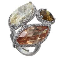 Grand Luxe Simulated Multi Color Gemstone Rhodium Plated Ring at Sears.com