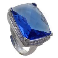 Grand Luxe Simulated Sapphire Rhodium Plated Ring at Sears.com