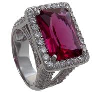 Grand Luxe Simulated Pink Sapphire Rhodium Plated Ring at Sears.com