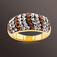 Chocolate Elegance Gold over Bronze Brown and White Crystal Stripe Ring at Kmart.com