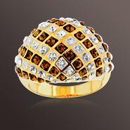 Chocolate Elegance Gold over Bronze Brown and White Crystal Dome Ring at Kmart.com