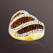 Chocolate Elegance Gold over Bronze Brown and White Crystal Wavy Stripe Ring at Sears.com