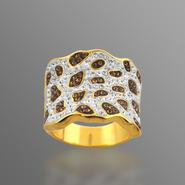 Chocolate Elegance Gold over Bronze Brown and White Crystal Animal Design Ring at Kmart.com