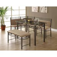 Monarch Specialties Cappuccino Marble / Bronze Metal Corner 3pcs Dining Set at Kmart.com