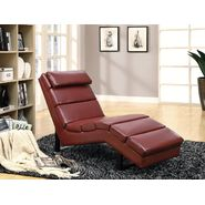 Monarch Specialties Red Leather-Look Chaise Lounger at Sears.com