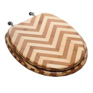 Comfort Seats Premium Piano Finish Elongated Bamboo Wood Toilet Seat with Brushed Nickel Hinges, Zebra at Kmart.com