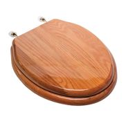 Comfort Seats Designer Solid Elongated Wood Toilet Seat with PVD Brass Hinges, Oak #C1B1E-17BR at Kmart.com