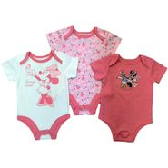 Disney Baby Newborn Girl's Bodysuit 3pk Minnie Mouse Short Sleeve Snap Closure Multicolored at Kmart.com