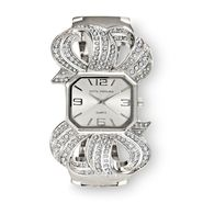 Sofia by Sofia Vergara Women's Watch Crystal Accent Ribbon Hinge Bangle Band Silvertone at Kmart.com