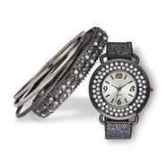 Sofia by Sofia Vergara Women's Watch Bangle Set Sparkle Black - 4 pieces at Kmart.com