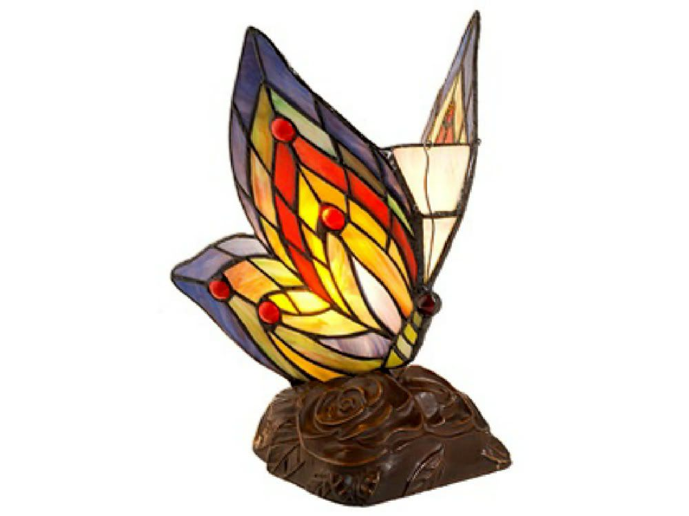 Warehouse of Tiffany Tiffany Style Yellow Butterfly Accent Lamp