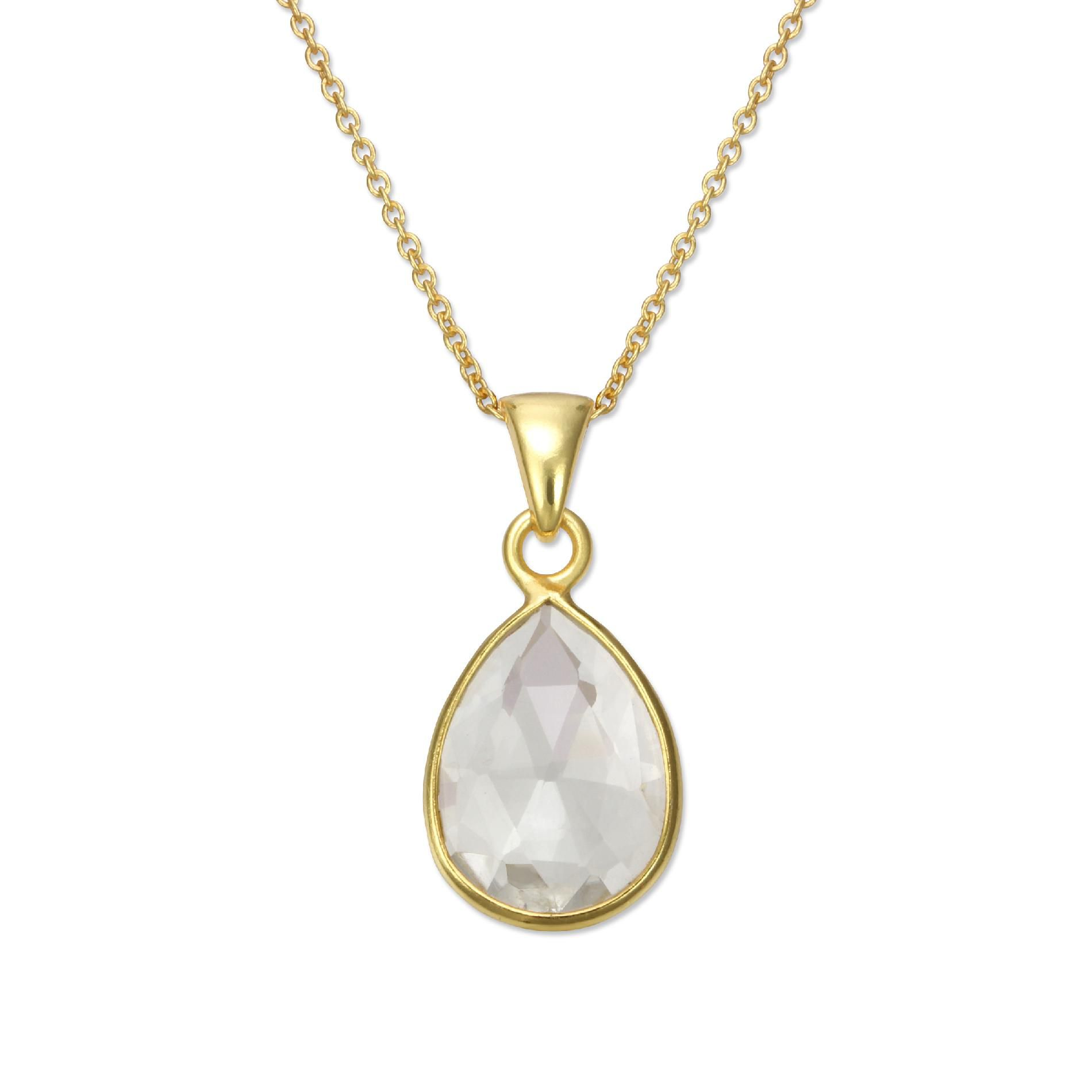 18kt Gold over Sterling Silver Cushion Pendant Clear Quartz Necklace