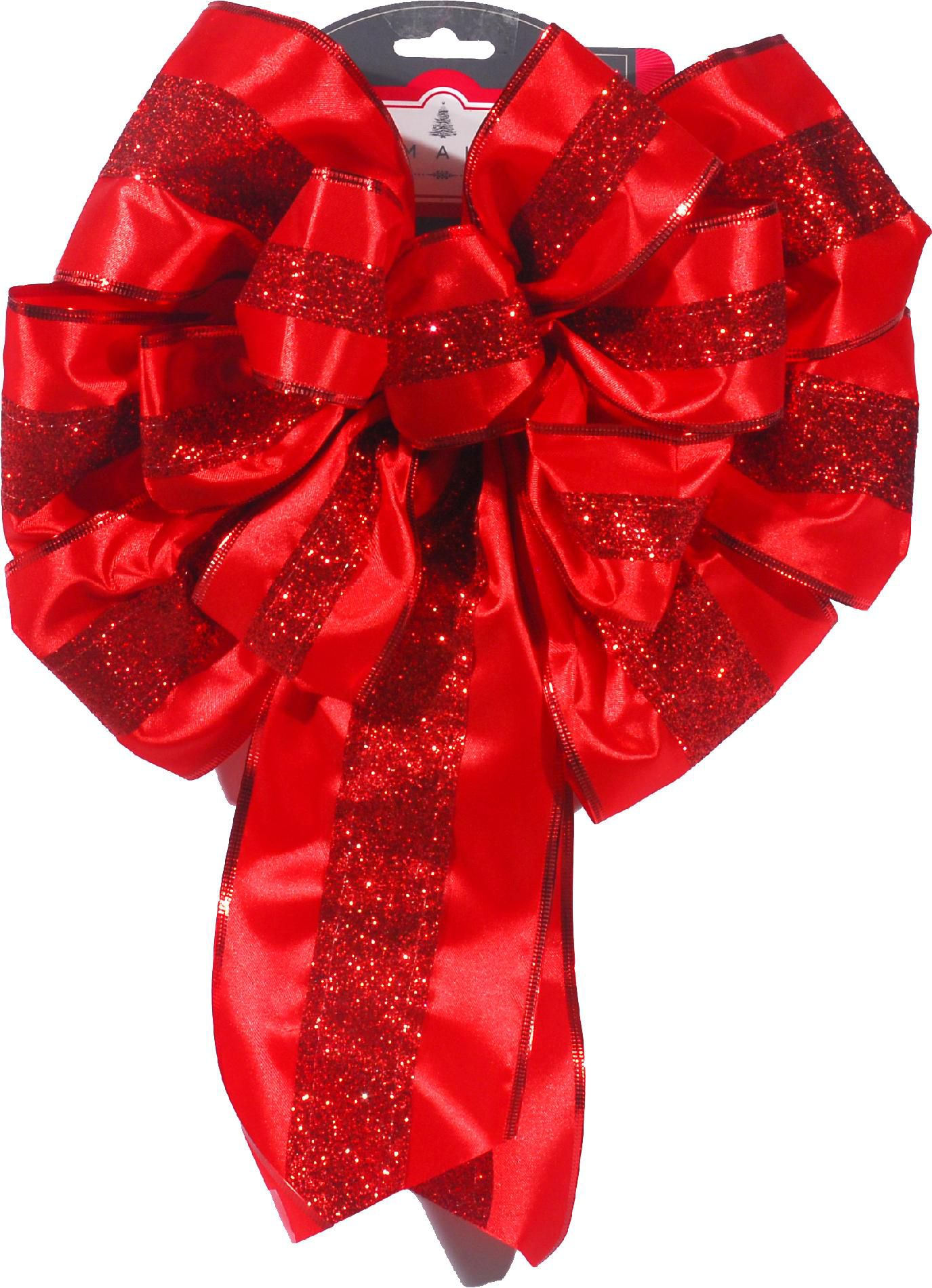 16in Satin & Glitter Bow - Red