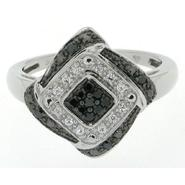 Sterling Silver 0.25cttw Black & White Diamond Shape Ring at Kmart.com