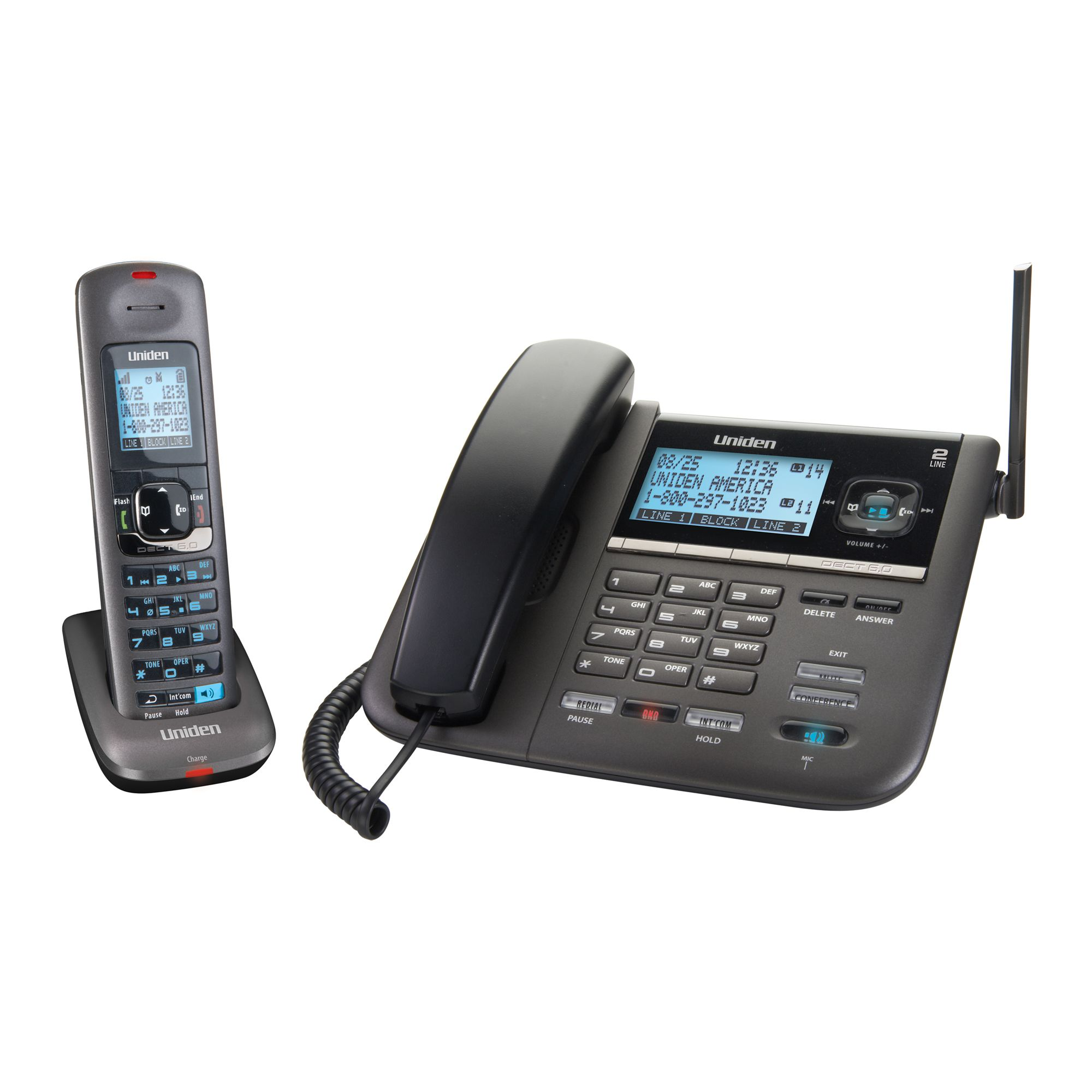 Uniden 2 Line Corded/Cordless Digital Answering System