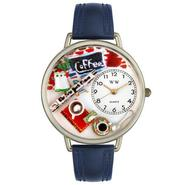 Whimsical Watches Coffee Lover Navy Blue Leather And Silvertone Watch #U0310006 at Sears.com
