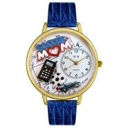 Whimsical Watches Soccer Mom Royal Blue Leather And Goldtone Watch #G1010012 at Sears.com