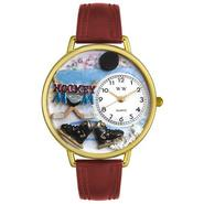 Whimsical Watches Hockey Mom Burgundy Leather And Goldtone Watch #G1010020 at Sears.com