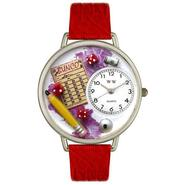 Whimsical Watches Bunco Royal Red Leather And Silvertone Watch #U0430010 at Sears.com