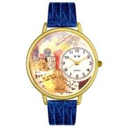 Whimsical Watches Drama Theater Royal Blue Leather And Goldtone Watch #G0420008 at Sears.com
