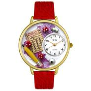 Whimsical Watches Bunco Royal Red Leather And Goldtone Watch #G0430010 at Sears.com