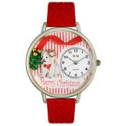 Whimsical Watches Christmas Puppy Red Leather And Silvertone Watch #U1220017 at Sears.com