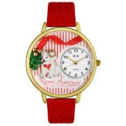 Whimsical Watches Christmas Puppy Red Leather And Goldtone Watch #G1220017 at Sears.com